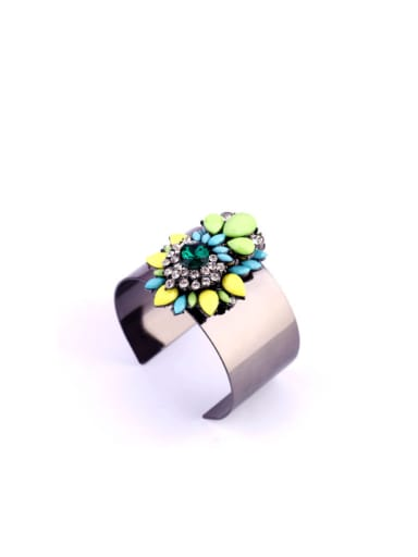 Colorful Flower Alloy Opening Bangle