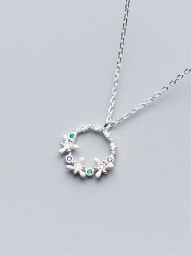 S925 Silver Necklace lady wind temperament diamond studded Necklace sweet circle flower clavicle chain D4212