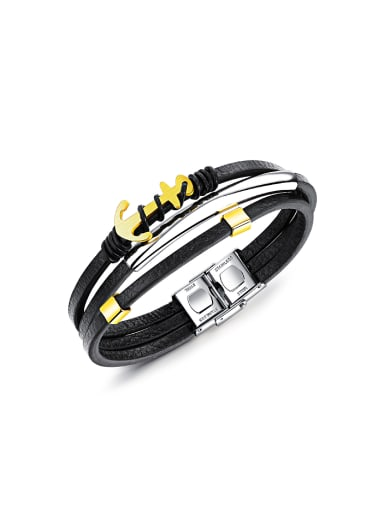 Multi-band Artificial Leather Gold Plated Titanium Bracelet