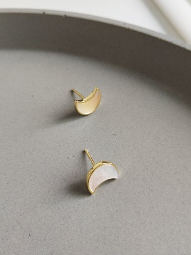 925 Sterling Silver With 18k Gold Plated Delicate Moon Shell Stud Earrings