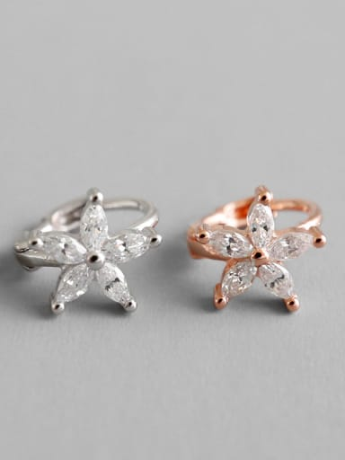 925 Sterling Silver With Silver Plated Personality Flower Clip On Earrings