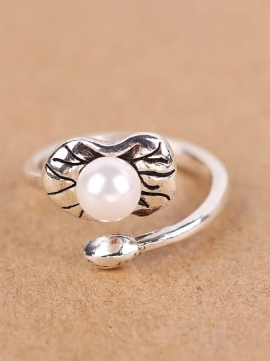 2018 Freshwater Pearl Silver Opening Ring