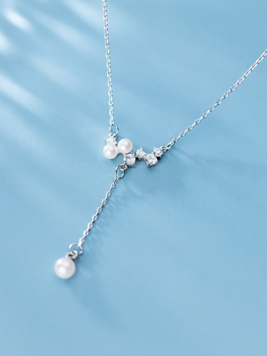925 Sterling Silver With Platinum Plated Fashion Irregular Necklaces