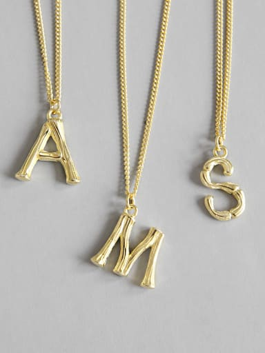 925 Sterling Silver With 18k Gold Plated Trendy Monogrammed Necklaces