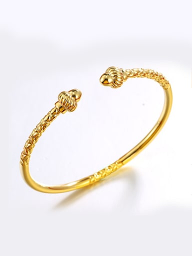 Copper Alloy 24K Gold Plated Vintage style Opening Bangle