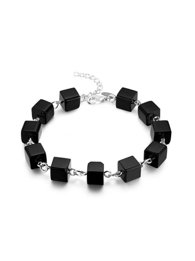 Personalized Cubic Black Carnelian Copper Bracelet