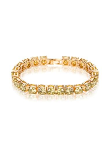 Copper inlaid 7mm AAA Zircon yellow Bracelet