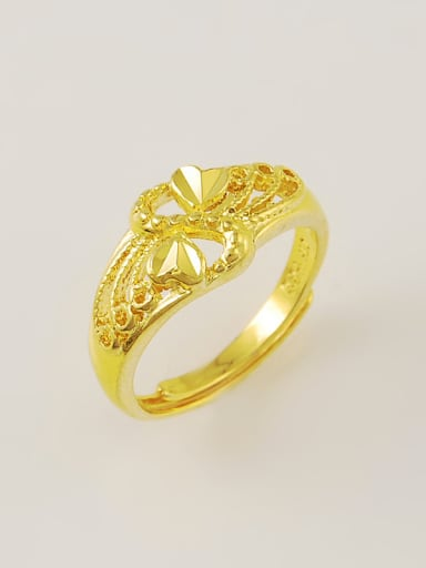 Creative 24K Gold Plated Double Heart Design Ring