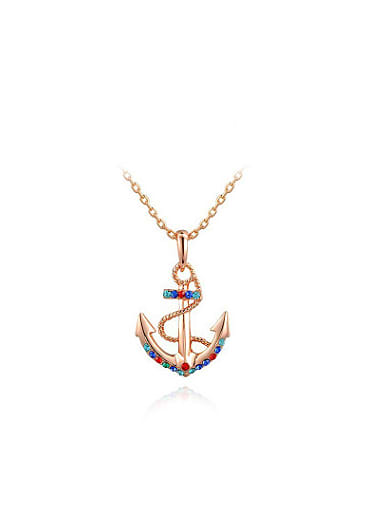 Multi-color Austria Crystal Anchor Shaped Necklace