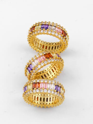Copper With Cubic Zirconia Fashion Geometric Band Rings
