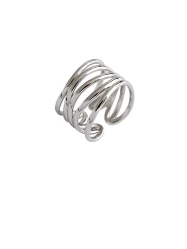 925 Sterling Silver With Platinum Plated Simplistic Multi-layer  Free Size Rings
