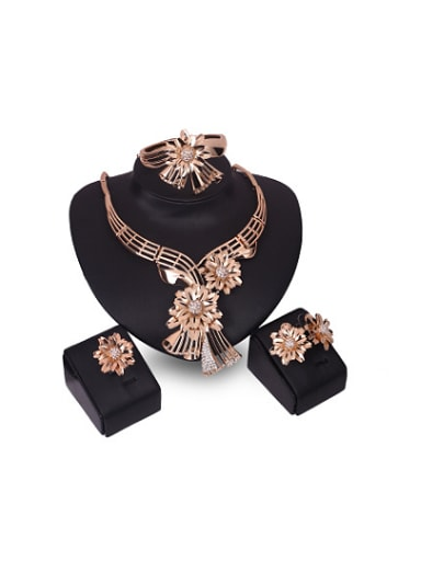 Alloy Imitation-gold Plated Fashion Flowers Rhinestones Four Pieces Jewelry Set