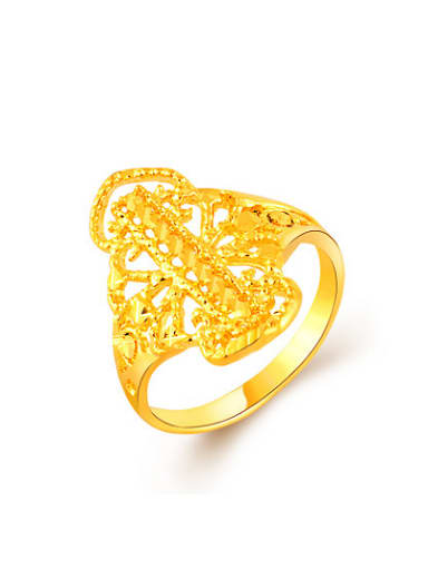 Korean Style 24K Gold Plated Hollow Leaf Shaped Ring