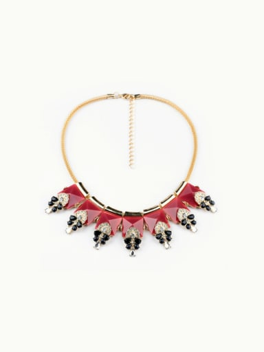 Red Triangle Pendant Short Necklace