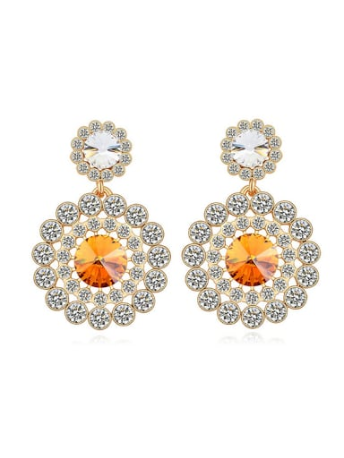 Exaggerated Cubic Swarovski Crystals Flowery Alloy Stud Earrings