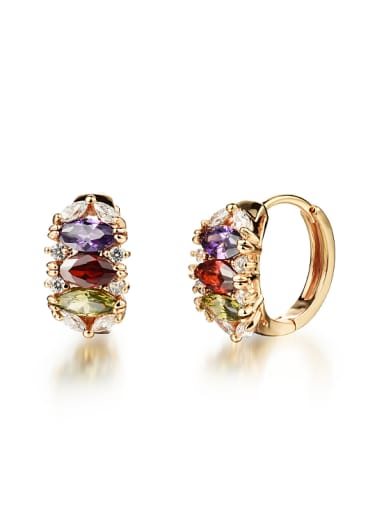 Fashion Marquise Zircon Champagne Gold Plated Earrings