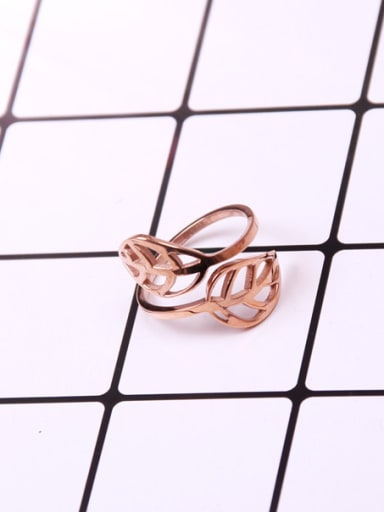 Hollow Leaves Rose Gold Opening Ring