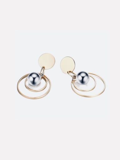 New stainless steel vacuum plated gold double ring hollow bead earrings