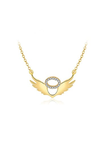 Women Delicate Wing Shaped Rhinestone Necklace