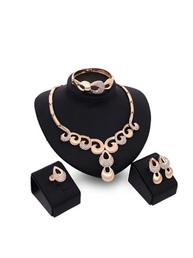 new 2018 2018 2018 2018 2018 2018 Alloy Imitation-gold Plated Vintage style Rhinestones Four Pieces Jewelry Set