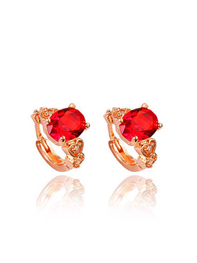 All-match Red Zircon Rose Gold Plated Copper Clip Earrings