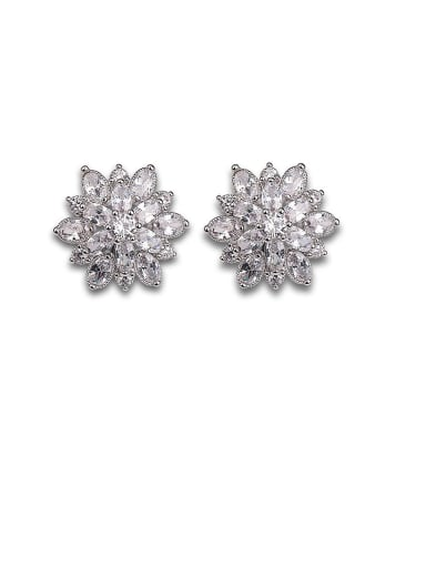 Copper With Platinum Plated Personality Snowflake Stud Earrings