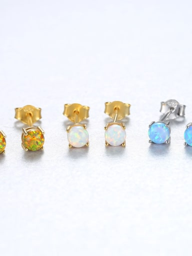 Sterling Silver Color opal Mini studs earring