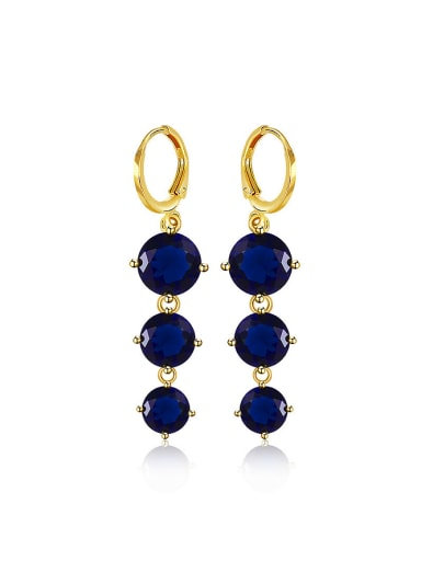 Copper Alloy 24K Gold Plated Zircon Women Drop stud Earring