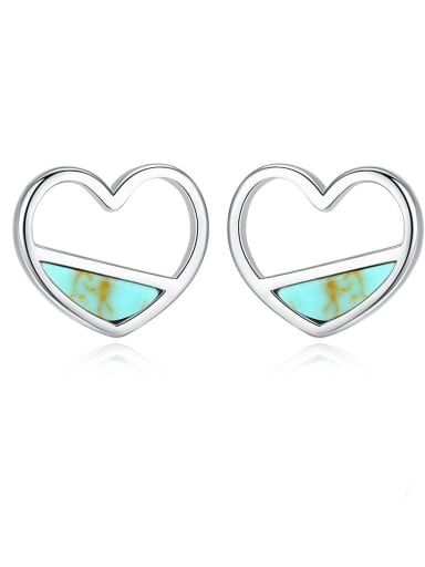 925 Sterling Silver With Turquoise  Cute Heart Stud Earrings