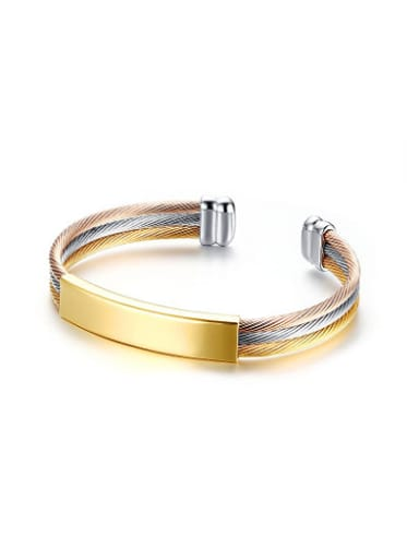 Open Design Three Color Geometric Shaped Titanium Bangle