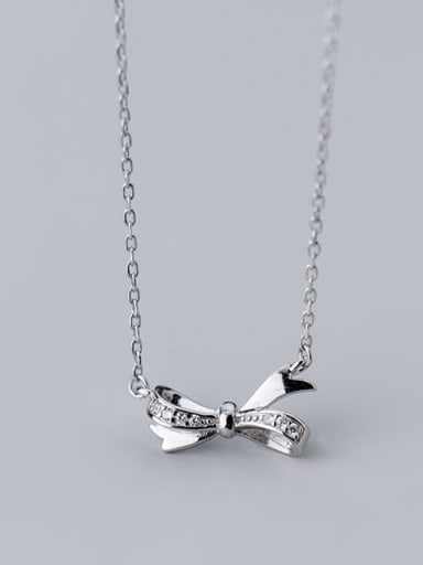 925 Sterling Silver With Silver Plated Personality Bowknot Necklaces