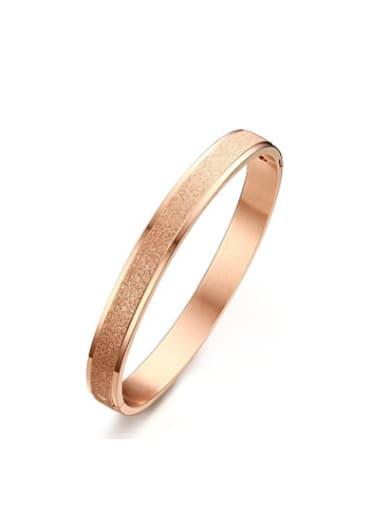 Trendy Rose Gold Plated Frosted Titanium Bangle