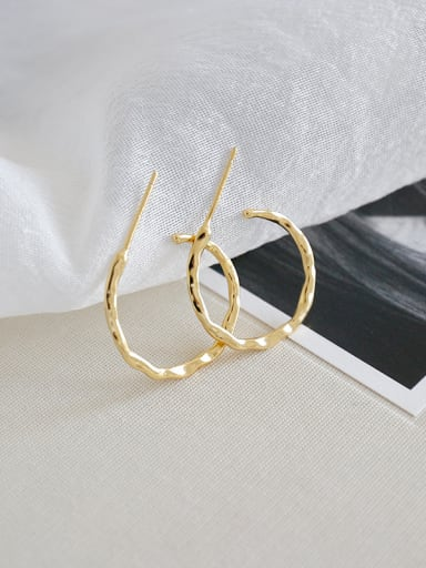 Sterling Silver irregular concave convex geometric Earring