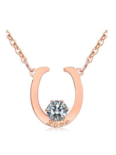 Simple U-shaped Zircon Pendant Titanium Necklace