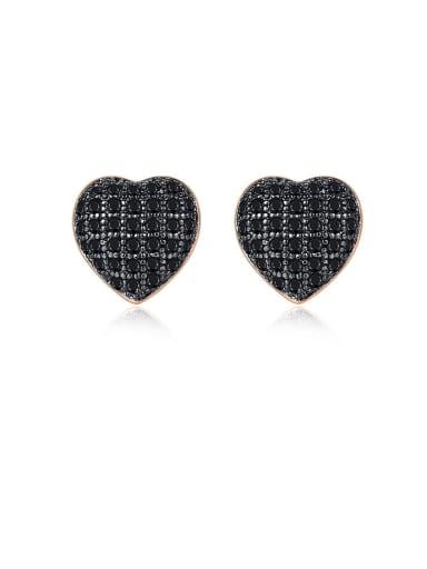 Copper With Cubic Zirconia Cute Heart Stud Earrings