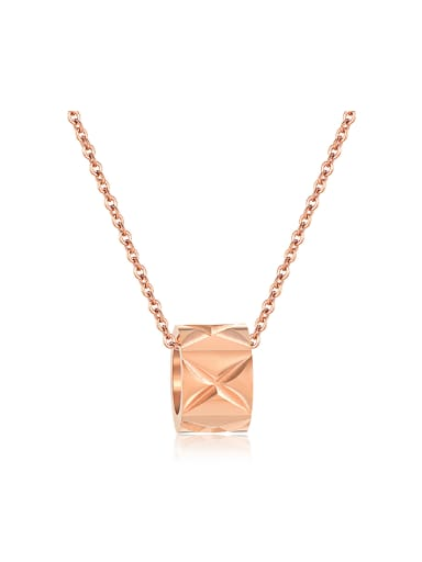 Simple Little Ring Rose Gold Plated Titanium Necklace