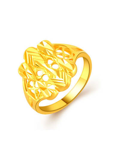Fashion Style 24K Gold Plated Geometric Copper Ring