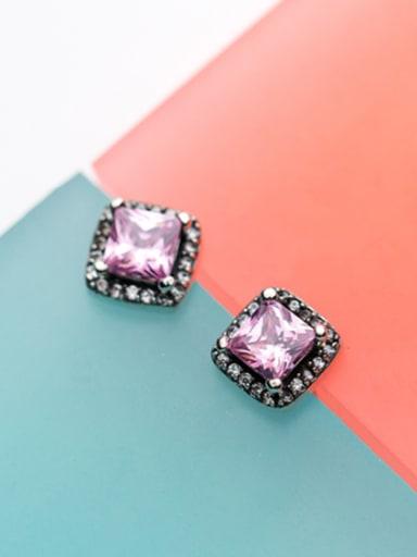 Vintage Square Shaped Pink Zircon Stud Earrings