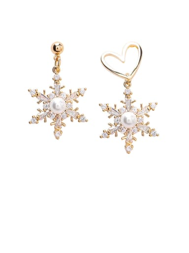 Alloy With Rose Gold Plated Simplistic Snowflake Drop Earrings