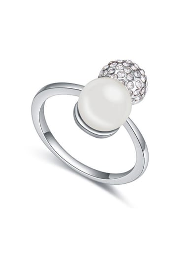 Fashionable Imitation Pearl Shiny Crystals-covered Bead Alloy Ring