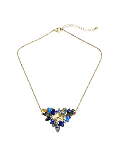 Fresh and Colorful Mixed Gemstones Short Alloy Sweater Necklace