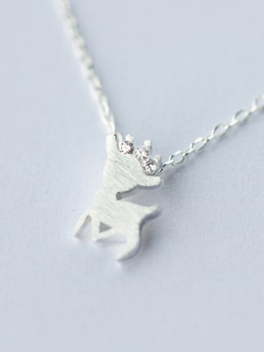 Women Lovely Deer Shaped S925 Silver Rhinestones Necklace