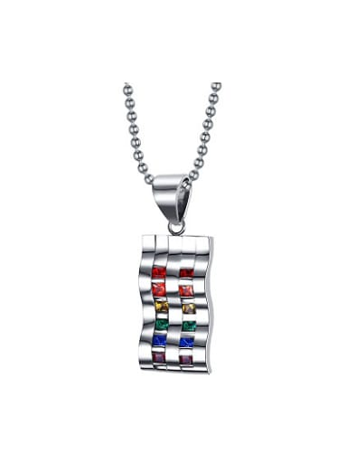 Exquisite Geometric Shaped Colorful Rhinestones Titanium Pendant