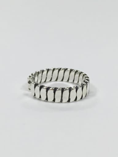 Simple Antique Silver Plated Silver Opening Ring