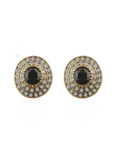 Retro style Round Black Resin stone Cubic Crystals Earrings