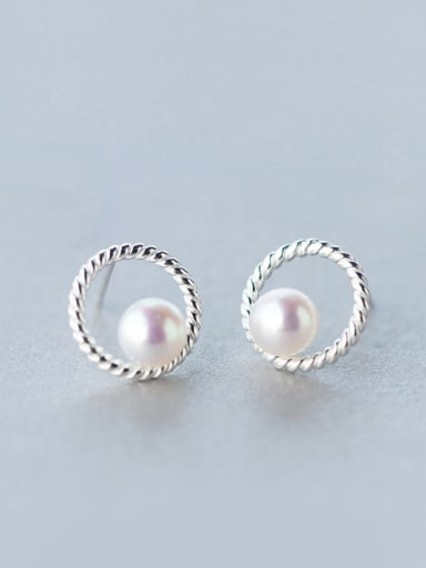 S925 silver natural freshwater pearl stud Earring