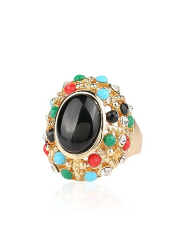 Personalized Colorful Resin stones Gold Plated Alloy Ring