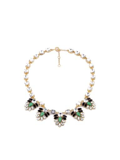 2018 2018 Flower Artificial Stones Alloy Necklace