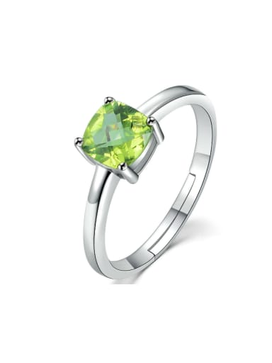 Natural Square Olivine Wedding Accessories Ring
