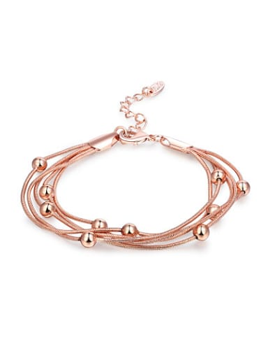 Adjustable Length Rose Gold Plated Tiny Bead Bracelet